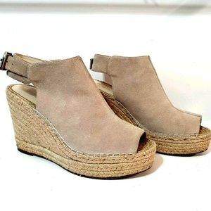 KENNETH COLE NY ODETTE 9.5 Suede Espadrille Wedges